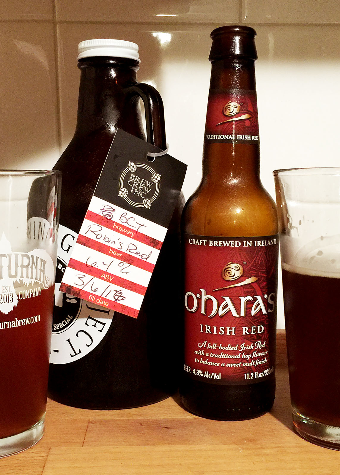 Side by side, Robin's Red from BCT Brewing Project & O'Hara's Irish Red.