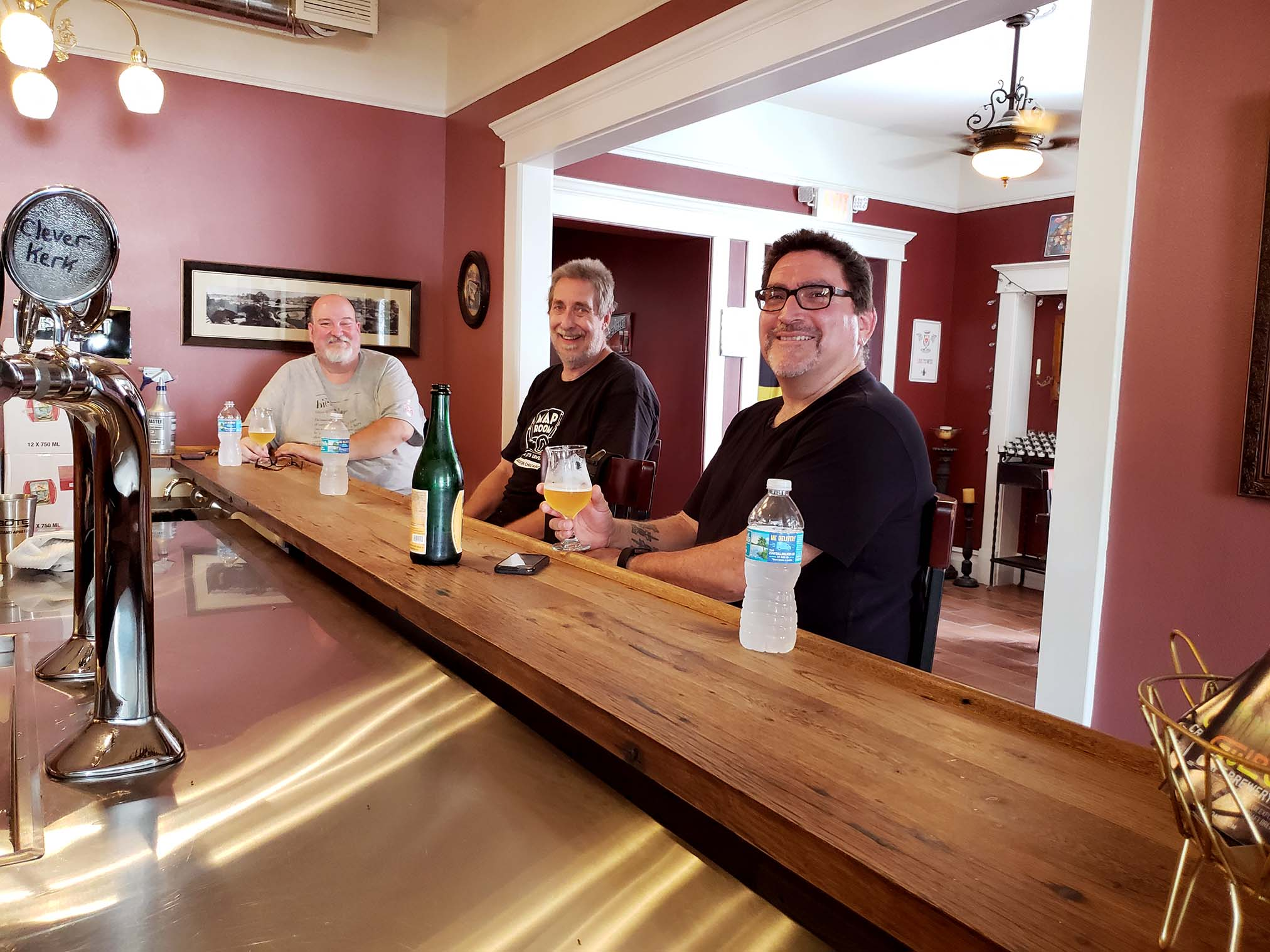 Bob, Mike, and Daniel enjoying an after brew beer in the taproom.